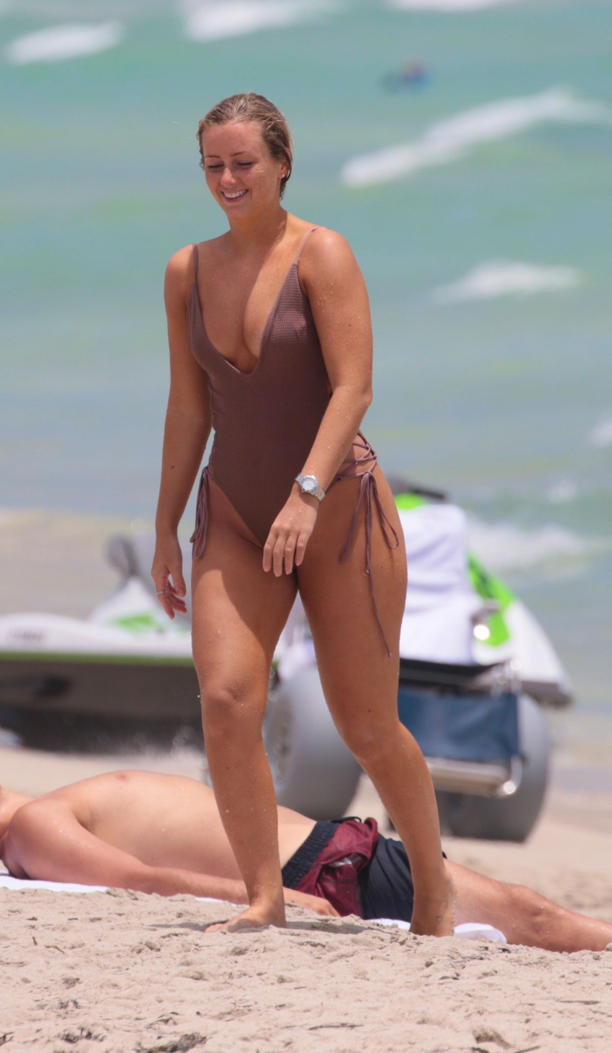 CECILA NORDAHL in Swimsuit at a Beach in Miami 08/09/2017