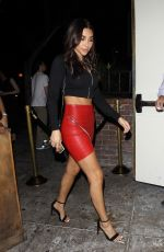 CHANTEL JEFFRIES in Red Leather Miniskirt at Delilah in West Hollywood 08/10/2017