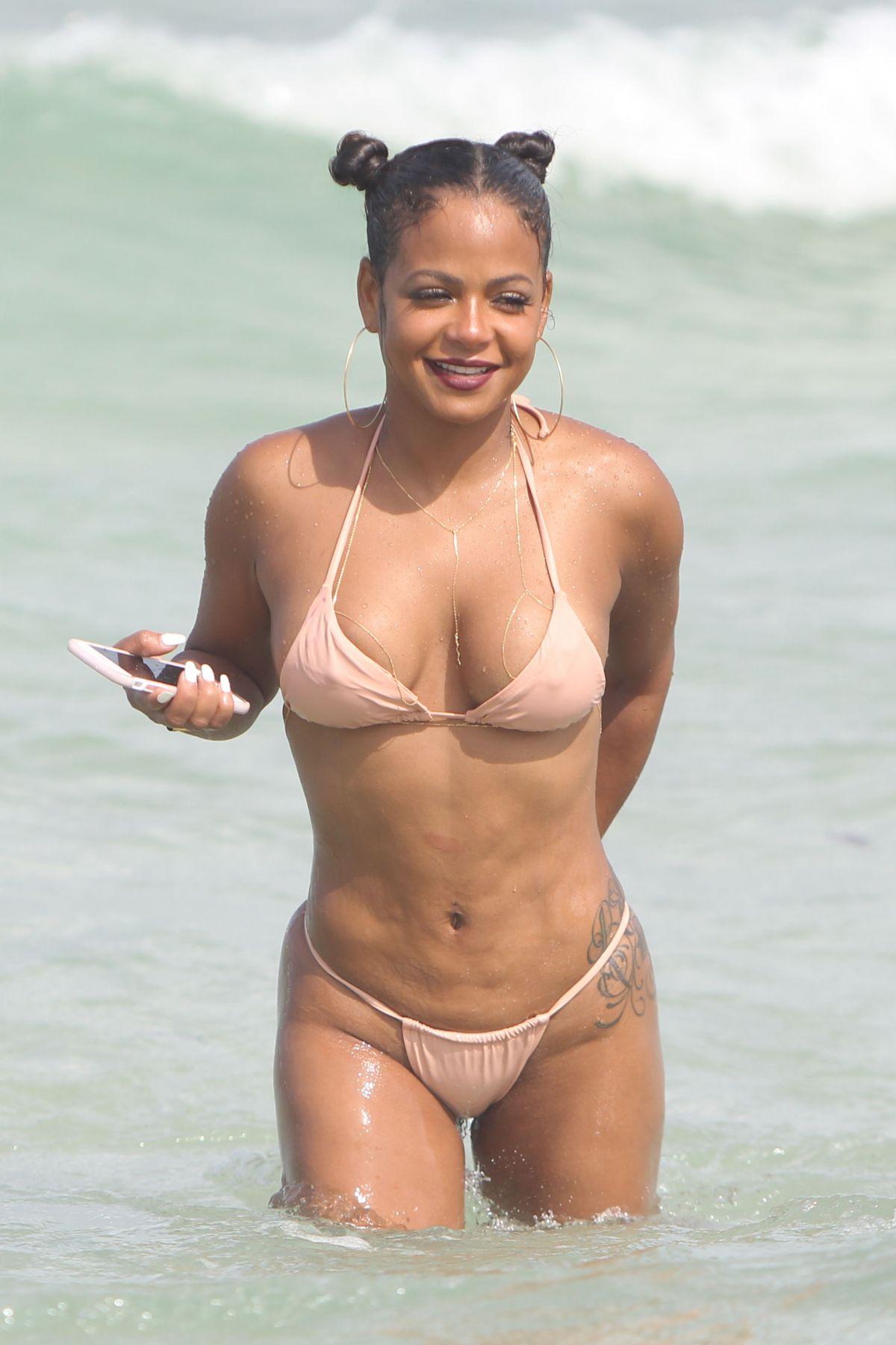 image Christina milian sexy beach bikini selfie vid