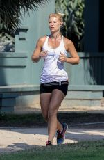 CLAIRE DANES Out Jogging in Los Angeles 08/09/2017