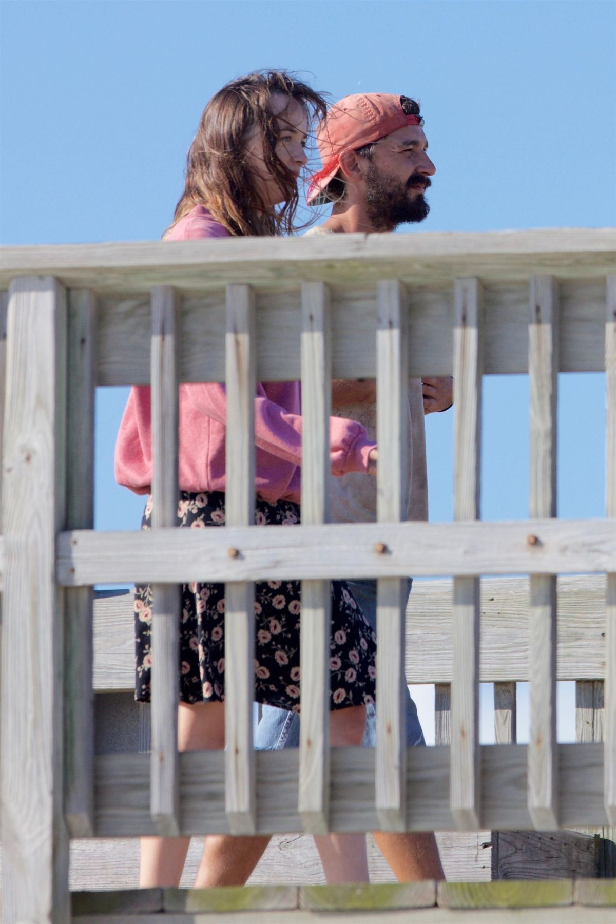 DAKOTA JOHNSON and Shia Labeouf on the Set of The Peanut Butter Falcon in Savannah 07/31/2017