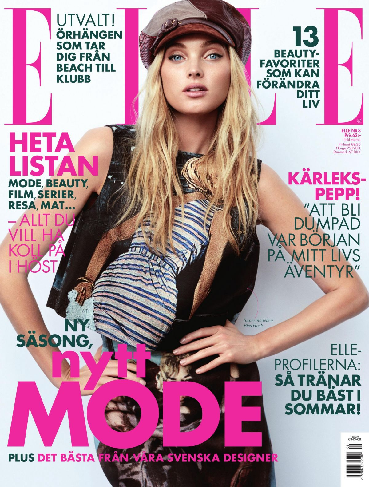 ELSA HOSK in Elle Magazine, Sweden August 2017