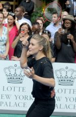 EUGENIE BOUCHARD Playing Badminton at Lotte New York Palace Tennis Invitational 08/24/2017