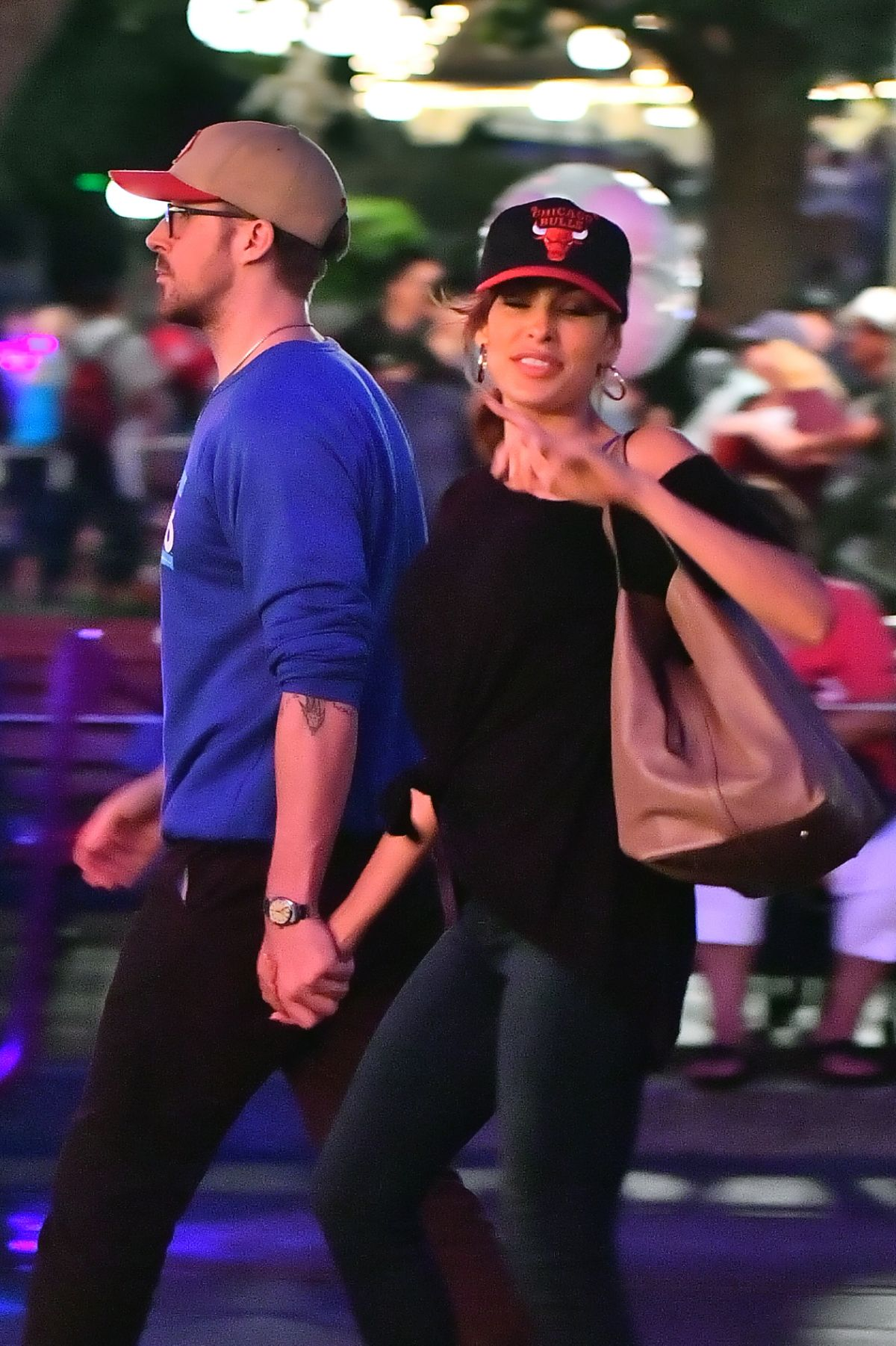 EVA MENDES and Ryan Gosling at Disneyland 08/07/2017