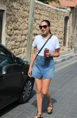 GAL GADOT in Denim Skirt Out in Tel Aviv 08/30/2017