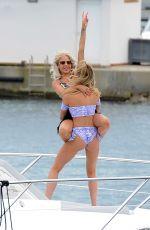 GEORGIA HARRISON and HANNAH ELIZABETH in Bikinis at a Boat in Spain 08/21/2017