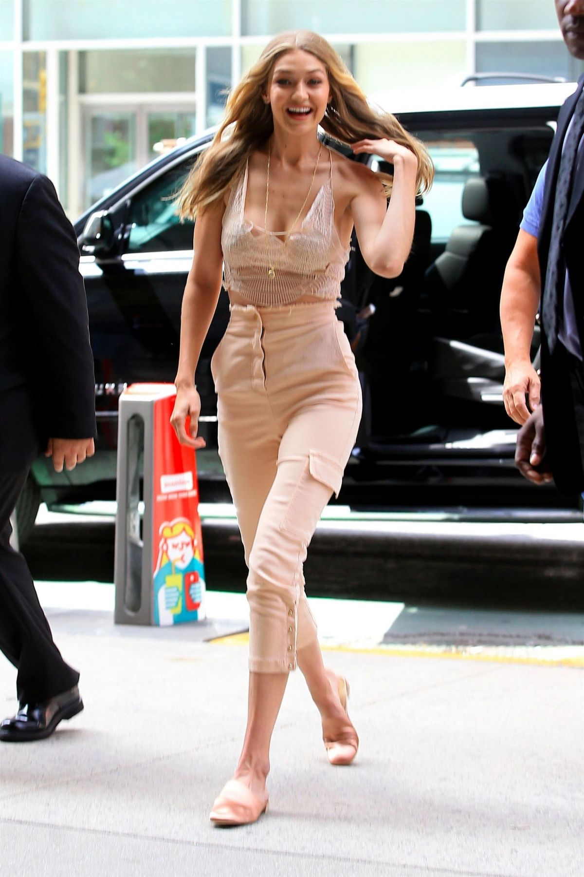GIGI HADID at Victoria's Secret Offices in New York 08/28 ...