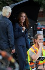 GILLIAN ANDERSON on the Set of X-Files Series in Vancouver 08/16/2017