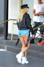 HAILEY BALDWIN in Denim Shorts Out for Lunch in Beverly Hills 08/25/2017