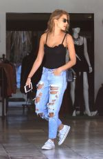 KARA DEL TORO in RIpped Jeans at Le Pain Quotidien in Hollywood 08/21/2017