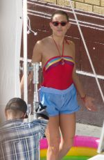 KATE HUDSON in Retro Swimsuit on the Set of Sister in Los Angeles 08/28/2017
