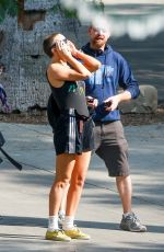 KATE HUDSON Shows Haircut on the Set Sister in Los Angeles 08/21/2017