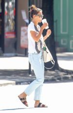 KATIE HOLMES Out for Coffee in New York 08/20/2017
