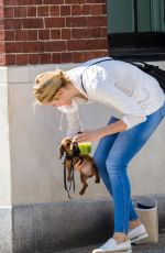 KELLY RUTHERFORD Out with Her Dog in New York 08/16/2017