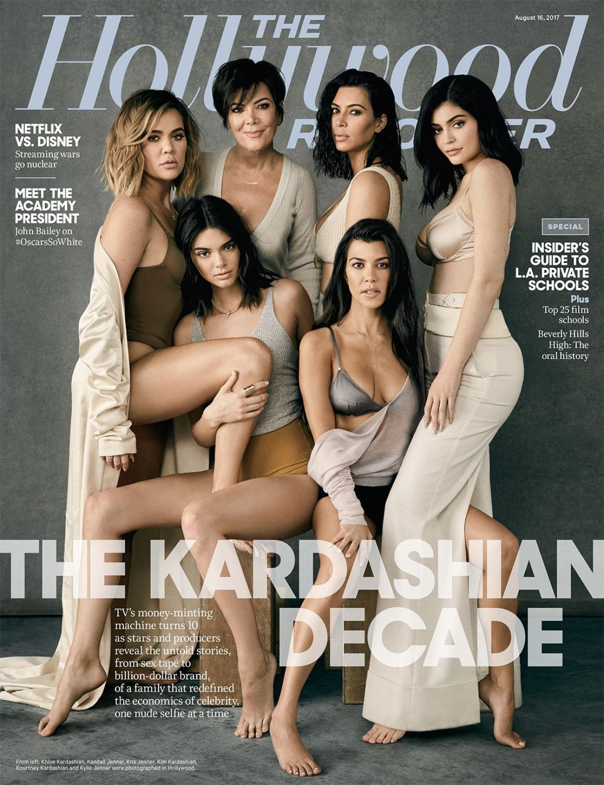 KENDALL, KYLIE and KRIS JENNER and KIM, KOURTNEY and KHLOE KARDASHIAN for Hollywood Reporter, August 2017