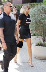 KHLOE KARDASHIAN in Leather Skirt Out in Studio City 08/24/2017