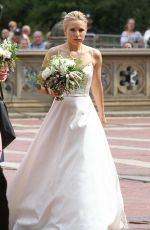 KRISTEN BELL in Wedding Dress on the Set of Like Father in New York 08/28/2017