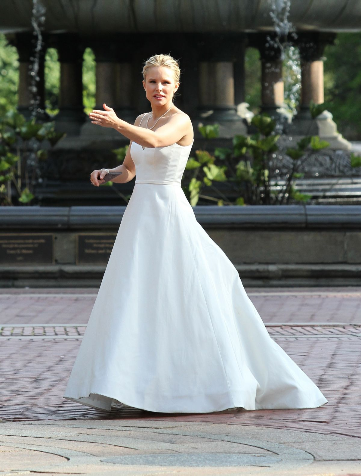 KRISTEN BELL in Wedding Dress on the Set of Like Father in New York ...