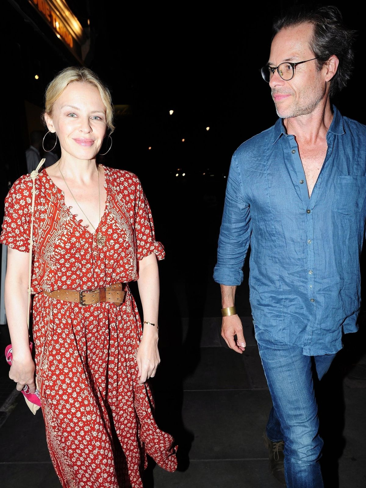 KYLIE MINOGUE and Guy Pearce Out for Dinner in London 08/20/2017