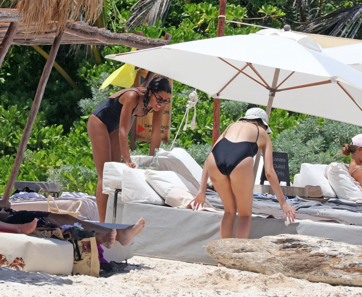 LAURA HARRIER and ALYCIA DEBNAM-CAREY in Swimsuit on the Beach in Tulum 08/13/2017