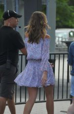 LILI SIMMONS on the Set of Extra in Los Angeles 08/15/2017