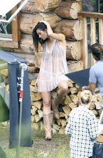 LILY ALDRIFGE on the Set of  VS Holiday Catalog in Aspen 08/13/2017