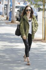 LILY COLLINS Leaves a Gym in Beverly Hills 08/28/2017