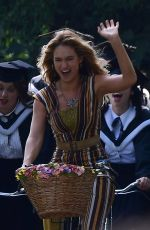 LILY JAMES on the Set of Mamma Mia: Here We Go Again 08/24/2017
