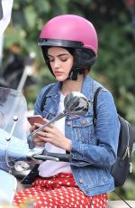 LUCY HALE on a Vespa on the Set of Life Sentence in Vancouver 08/11/2017