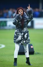 LYDIA LUCY Performs at Friendly Match Between Billericay Town and West Ham United 08/08/2017