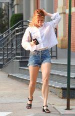 MAMIE GUMMER in Denim Shorts Out in New York 08/22/2017