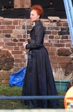 MARGOT ROBBIE as Queen Elizabeth I on the Set of Mary Queen of Scots Movie in Goldthorpe 08/21/2017