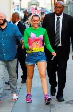 MILEY CYRUS Arrives at Jimmy Kimmel Live in Los Angeles 08/26/2017