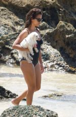 MONICA CRUZ in Swimsuit with Her Dog on the Beach in Cadiz 08/15/2017