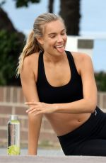 NATHALIE DARCAS on the Set of a Photoshoot for Gym Wear 08/21/2017