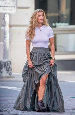 NINA AGDAL on the Set of a Photoshoot in New York 08/24/2017