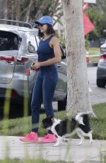 NINA DOBREV Takes Her Dog Out for a Walk in Los Angeles 08/15/2017