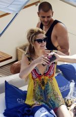 PARIS HILTON and Chris Zlyka at a Boat Trip on Amalfi Coast 08/18/2017