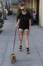 PHOEBE PRICE Out with Her Dog in Beverly Hills 08/29/2017