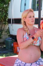 Pregnant HEIDI MONTAG in Bikini Top on Vacation in Hawaii 08/08/2017