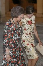 QUEEN LETIZIA OF SPAIN at Authorities Reception at La Almudaina Palace in Palma De Mallorca 08/04/2017
