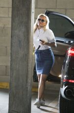 REESE WITHERSPOON in Denim Skirt Out in Los Angeles 08/14/2017