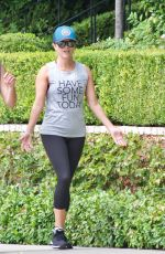 REESE WITHERSPOON Out Jogging in Brentwood 08/27/2017