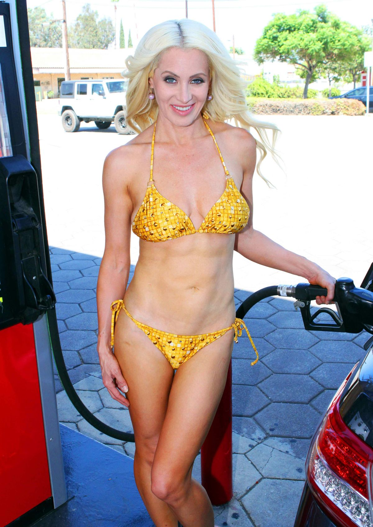 SARA BARRETT in Bikini at a Gas Station in Malibu 08/12/2017
