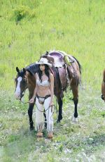 SARA SAMPAIO and TAYLOR HILL in Cowboy Outfit Shooting for Victoria