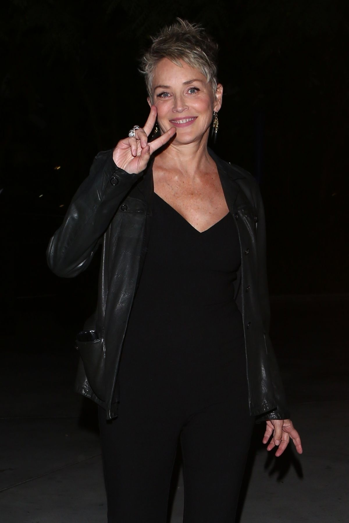 SHARON STONE Arrives at Ed Sheeran Concert in Los Angeles 08/12/2017