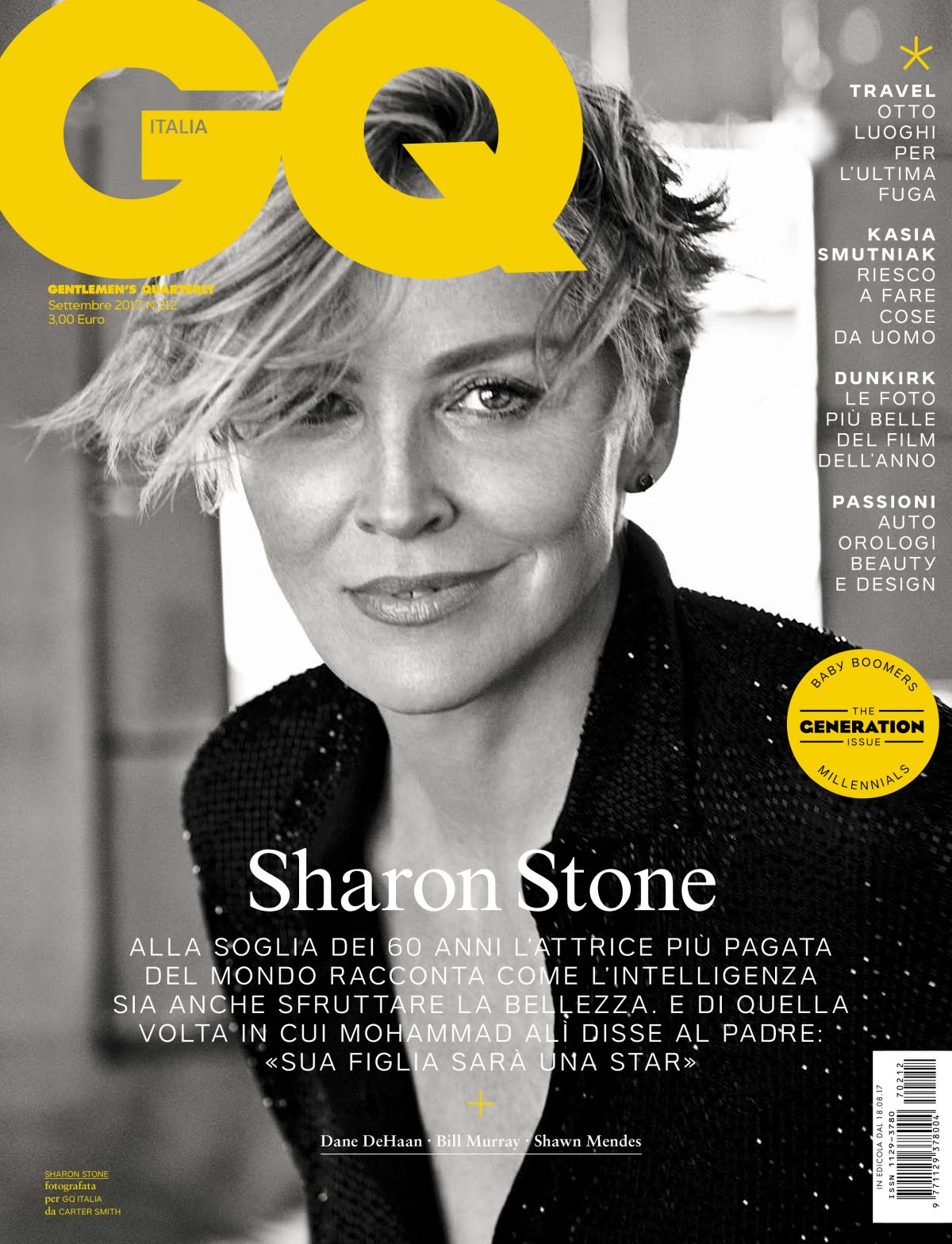 SHARON STONE in GQ Magazine, Italy September 2017