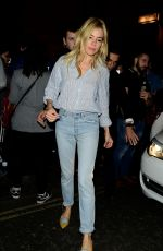 SIENNA MILLER Leaves Apollo Theatre in London 08/12/2017