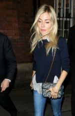 SIENNA MILLER Leaves Apollo Theatre in London 08/15/2017