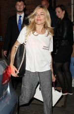 SIENNA MILLER Leaves Her Performance in Cat on a Hot Tin Roof in London 08/14/2017